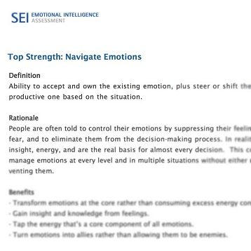 SEI Emotional Intelligence Assessment: Strengths Report